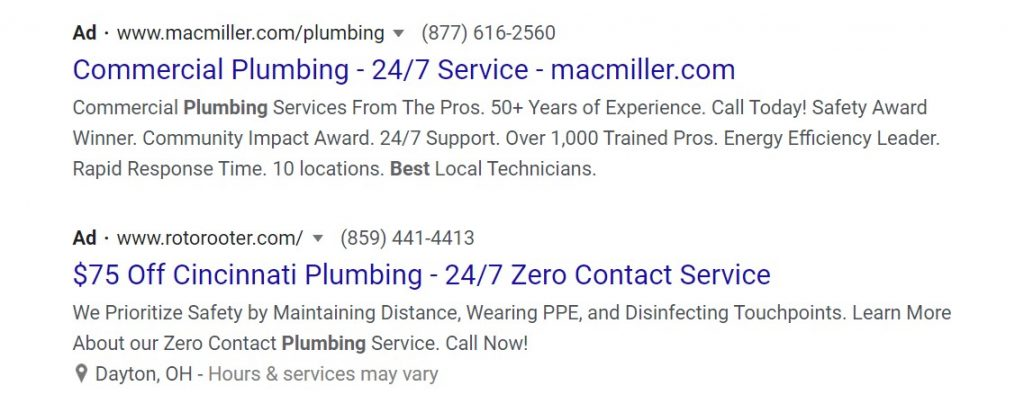 Example Google Search ads