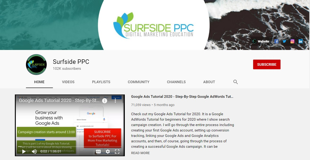 Surfside PPC YouTube Channel screenshot.
