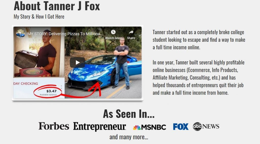 Tanner J Fox bio on his official website