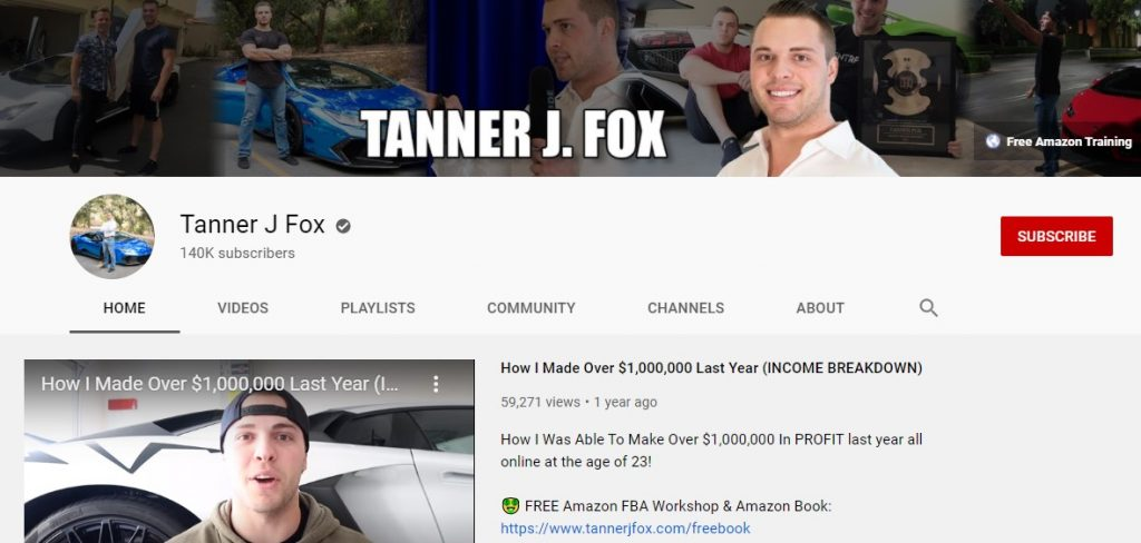 screenshot of tanner j fox youtube channel homepage