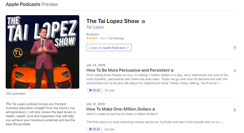 The Tai Lopez Show Apple Podcasts Page
