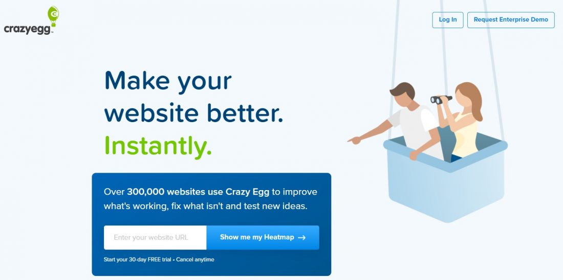 Screenshot of the Crazy egg homepage