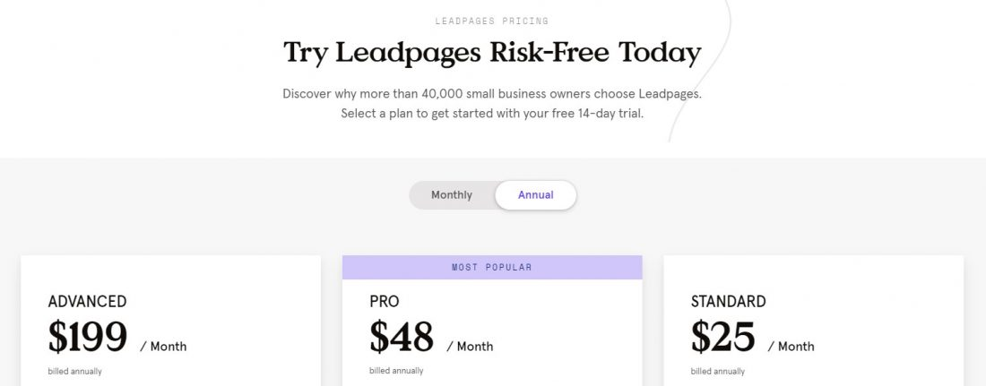 Screenshot of Leadpages Pricing