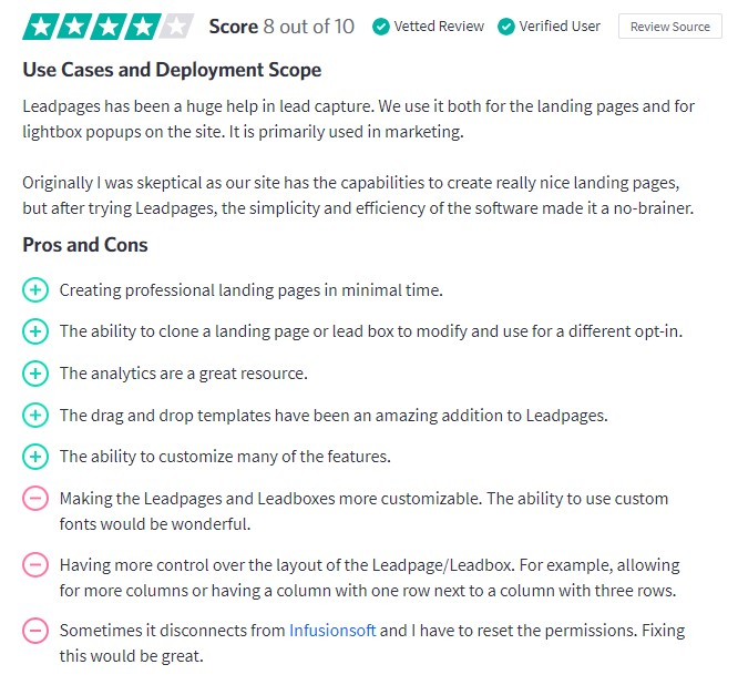 Screenshot of Leadpages review on trustradius.com