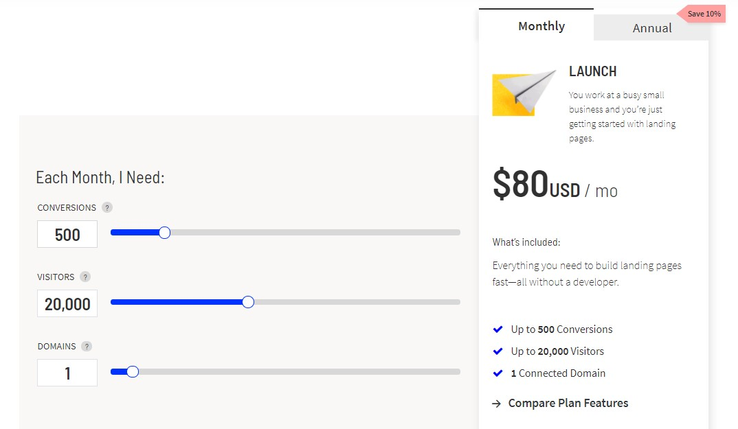 Screenshot of Unbounce's pricing slider