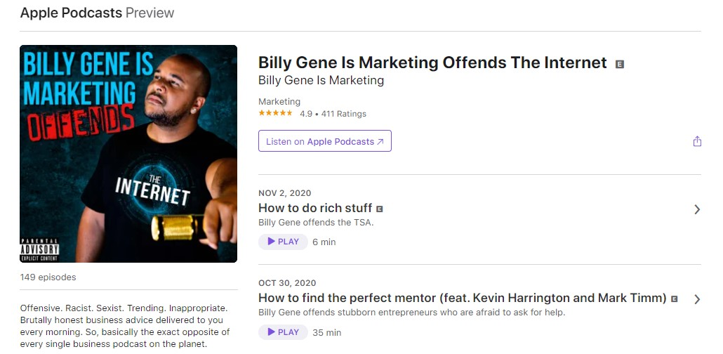Screenshot of Billy Gene Is Marketing Offends The Internet Podcast
