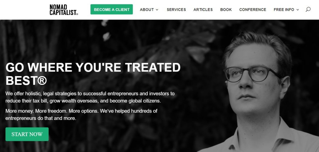 Screenshot of the Nomad Capitalist homepage