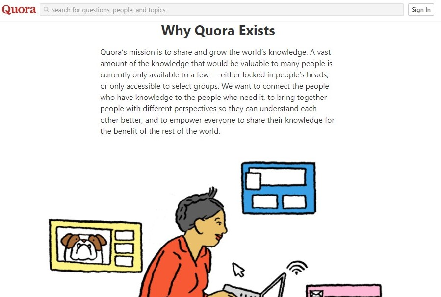 Screenshot of Quora's homepage