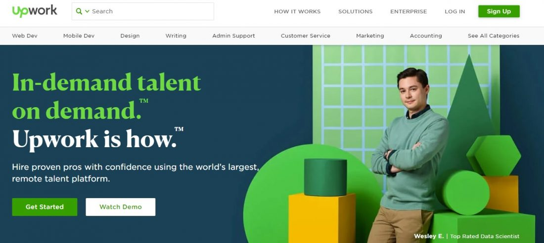 Screenshot of Upwork's homepage