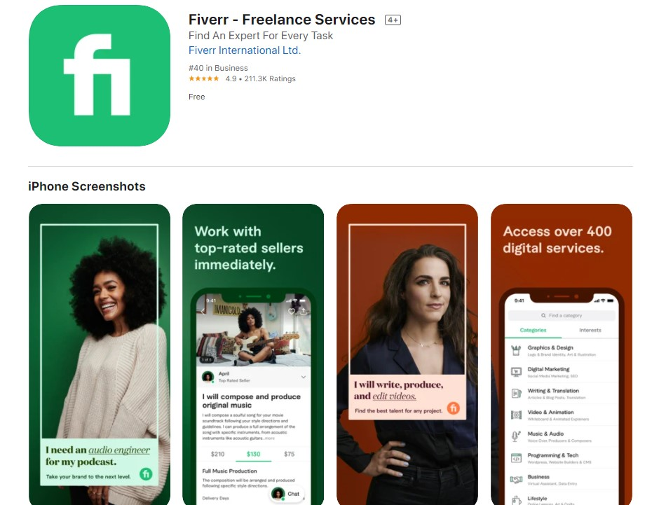 Screenshot of the Fiverr app on the App Store