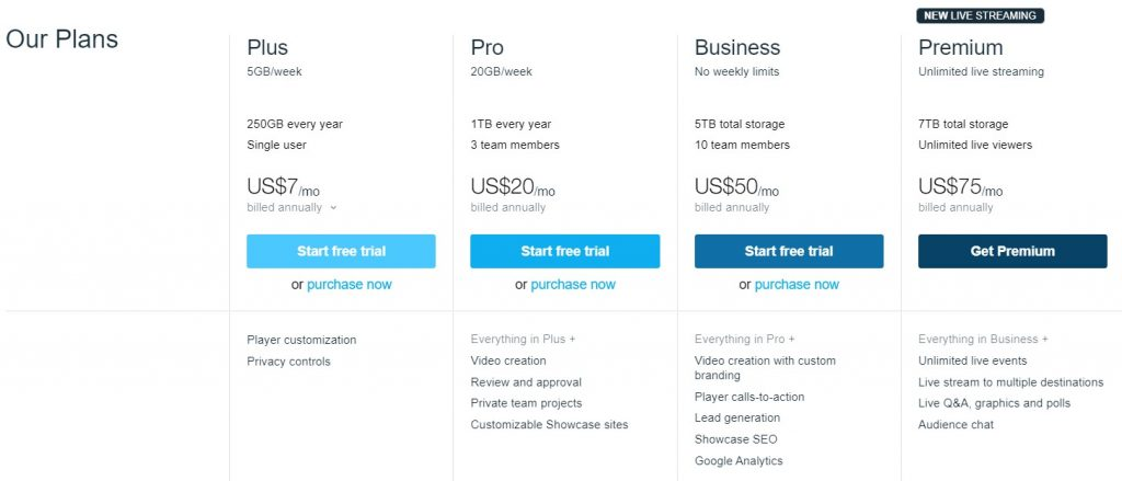 Screenshot of Vimeo pricing structure