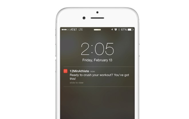 Example of a push notification