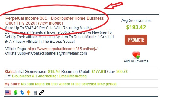 Clickbank listing screenshot for Perpetual Income 365