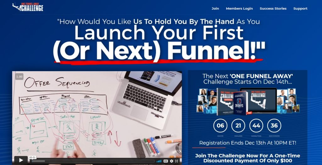 Screenshot of the One Funnel Away Challenge homepage