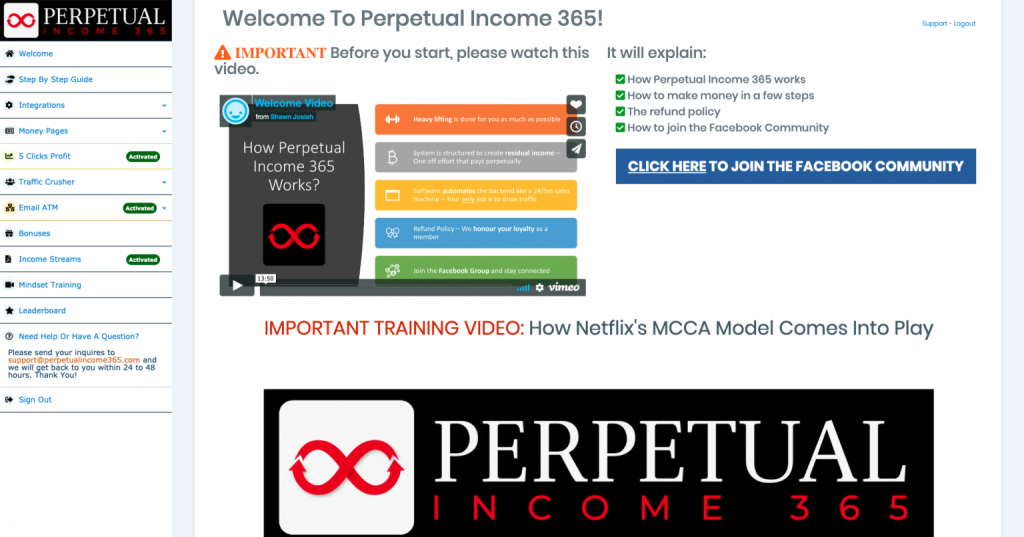 Screenshot of the Perpetual Income 365 Software