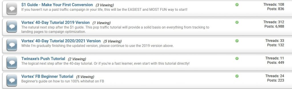 1$ guide and other Vortex (Amy Cheung) paid traffic tutorials