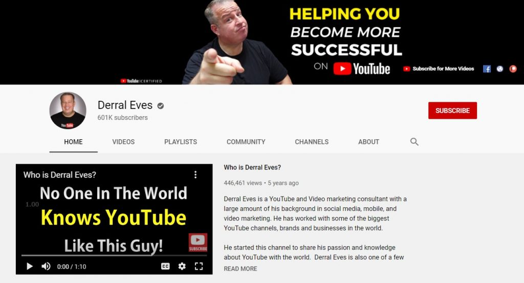 Screenshot of Derral Eves' YouTube channel