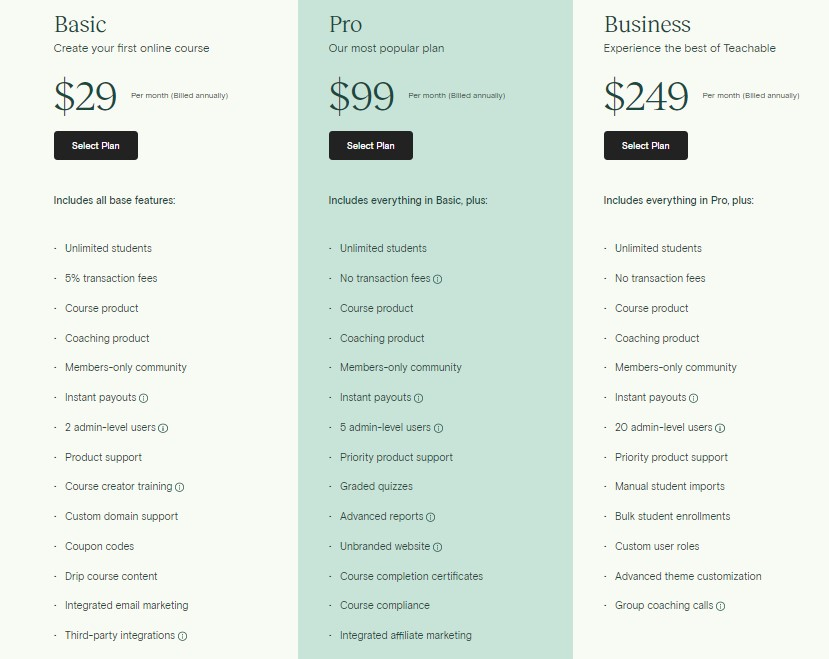 Screenshot of Teachable Pricing plans