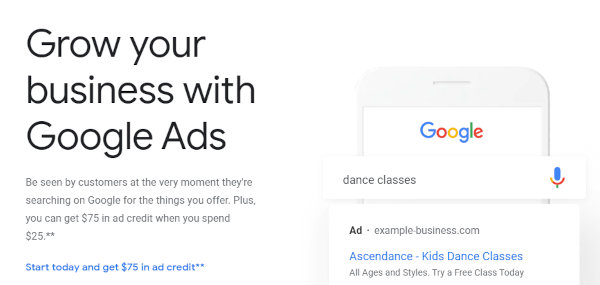 The homepage of Google Ads.