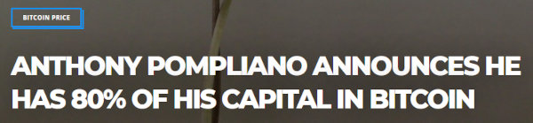 Headline of a Bitcoinist article about Anthony Pompliano's Bitcoin portfolio.