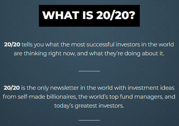 Overview of the Real Vision 20/20 newsletter.
