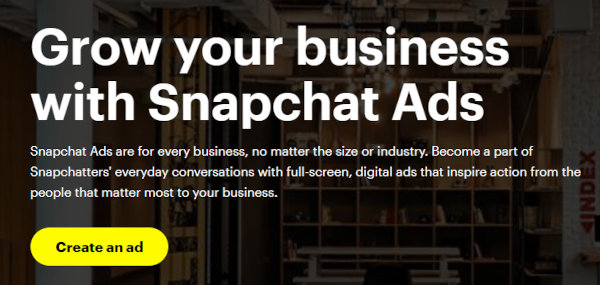 Homepage of Snapchat Ads.