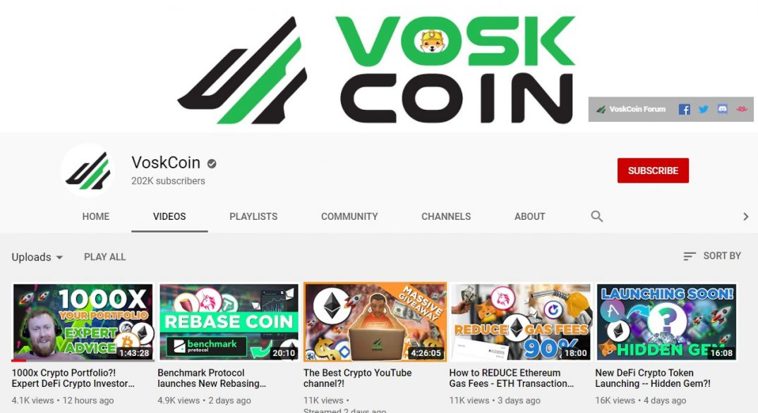 Screenshot of the VoskCoin YouTube channel