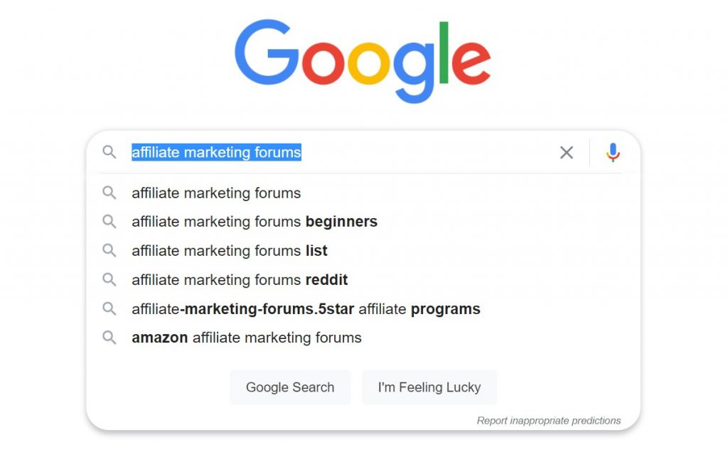 screenshot of search for top affiliate marketing forums