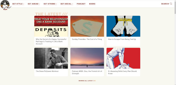 """The homepage of """"The Art of Manliness""""."""