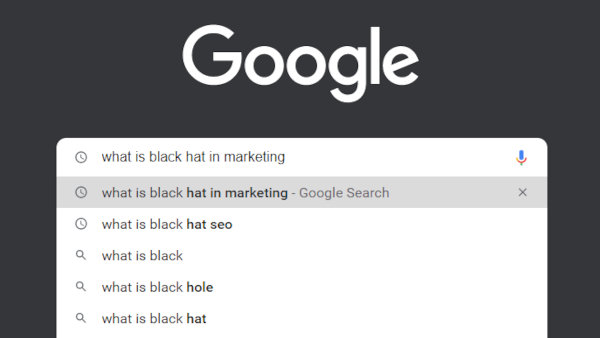 """Google search results for """"what is black hat in marketing""""."""