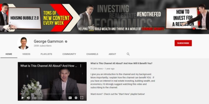 Screenshot of George Gammon's YouTube Channel