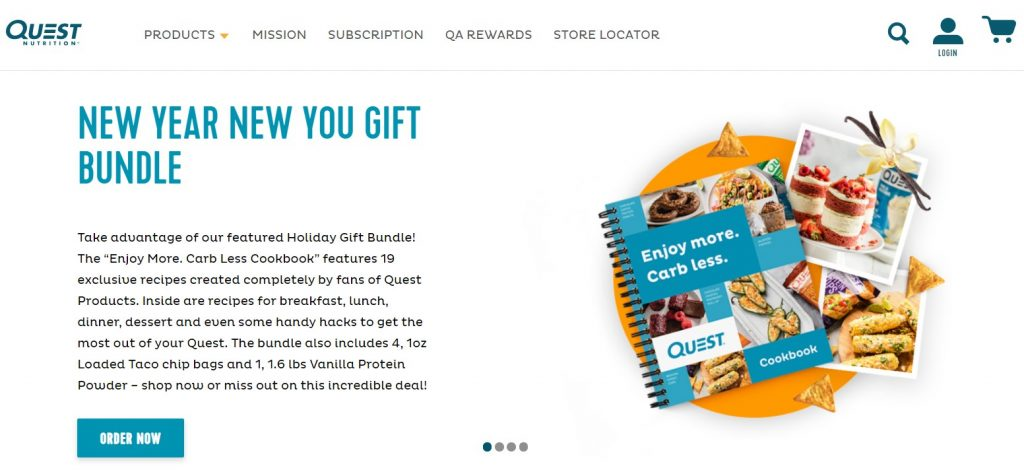 Screenshot of Quest Nutrition homepage