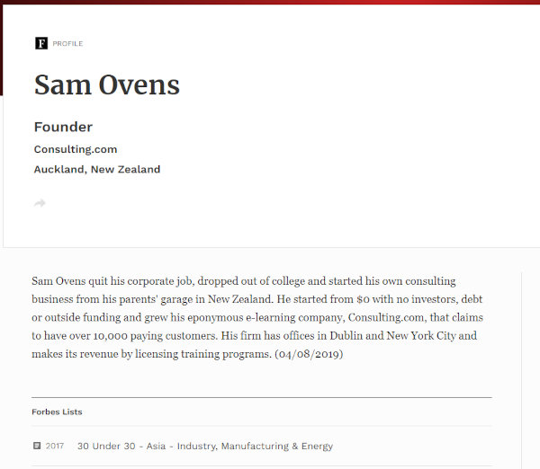 Ovens' current profile on Forbes.