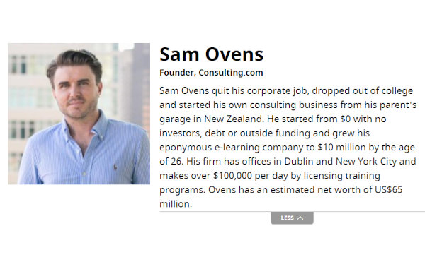View of Ovens' Forbes profile via the Wayback Machine.