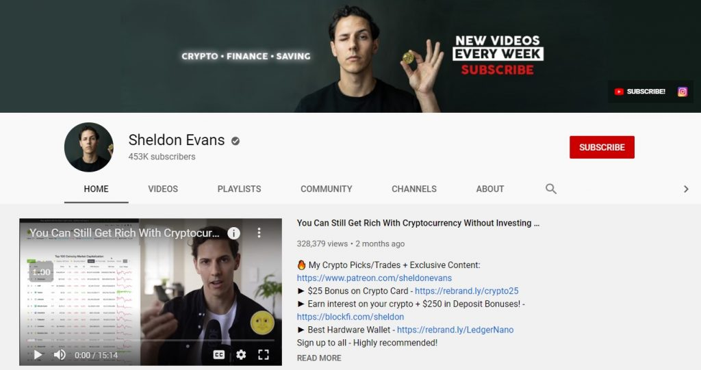 Crypto-YouTuber Sheldon Evans bio, background, net worth, courses, and more!