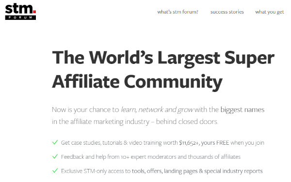 Homepage of STM Forum. STM is one of the most renowned affiliate marketing forums out there.