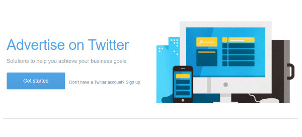 Twitter Ads signup page.