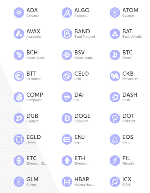 Some of the coins supported by Voyager.