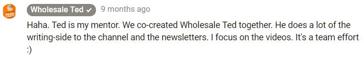 Screenshot of Wholesale Ted's comment