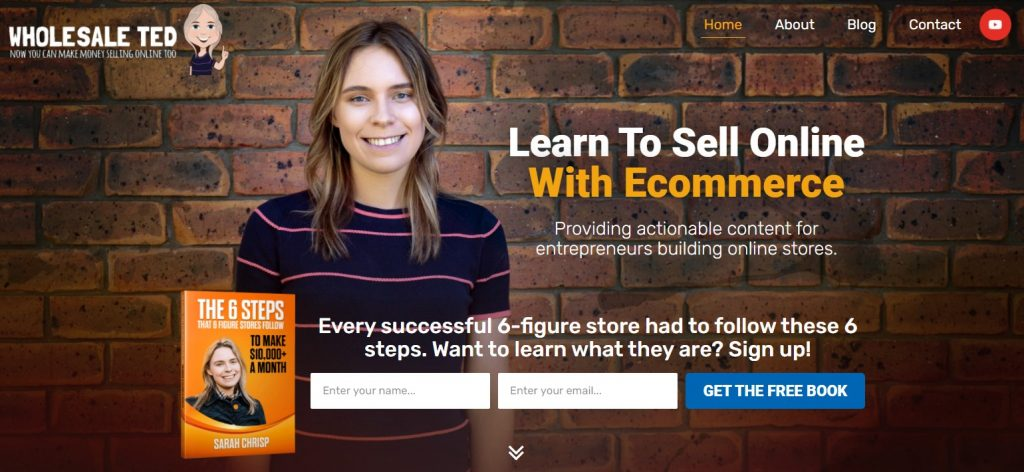 Screenshot of Wholesale Ted homepage with image of Sarah Crisp.