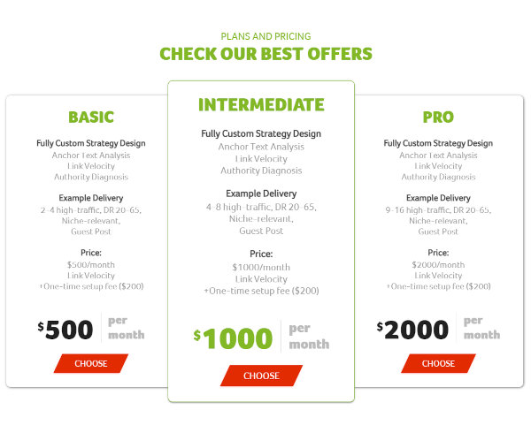 Pricing of Authority Builders' ABC Plus service.