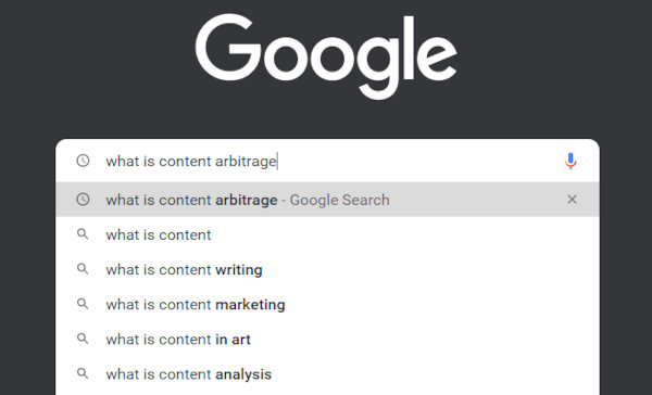"""Google Search suggestions for """"what is content arbitrage""""."""