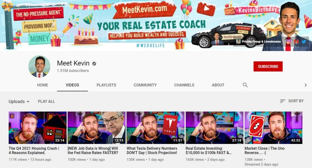 Screenshot of the Meet Kevin YouTube channel