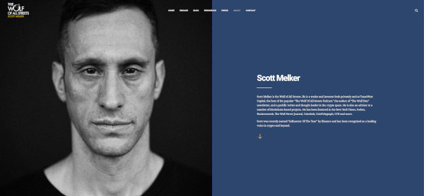 Scott Melker's about on The Wolf Of All Streets website.