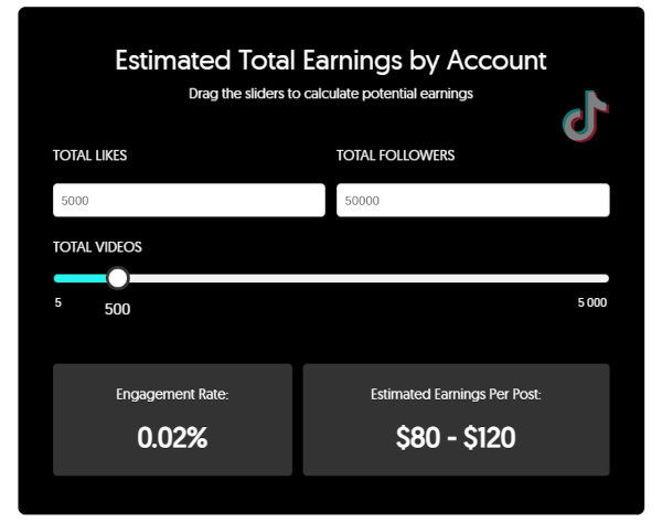 An example of a TikTok earning calculator in action.