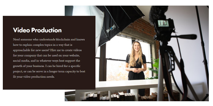 And she also offers video production services.