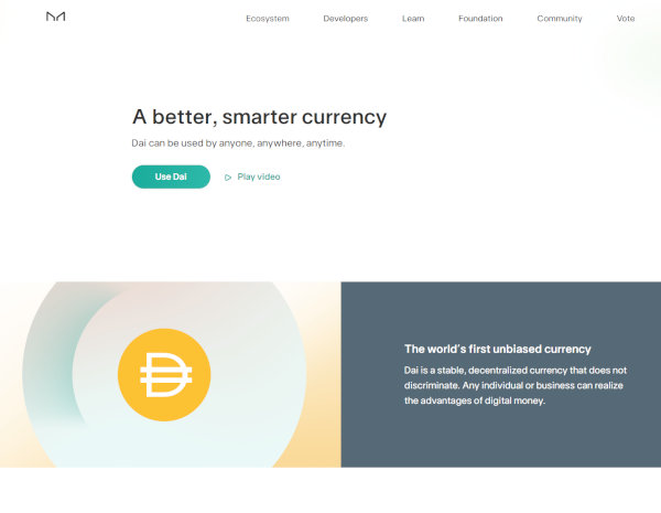 The homepage of MakerDAO.
