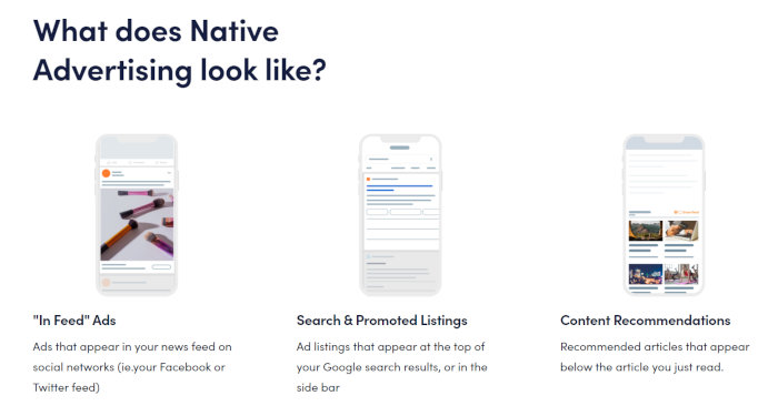 Examples of native advertisement.