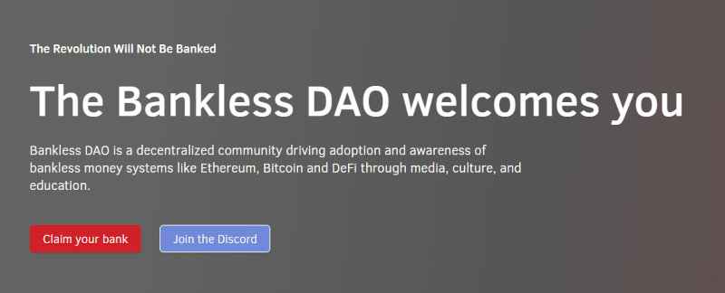 The homepage of Bankless DAO.