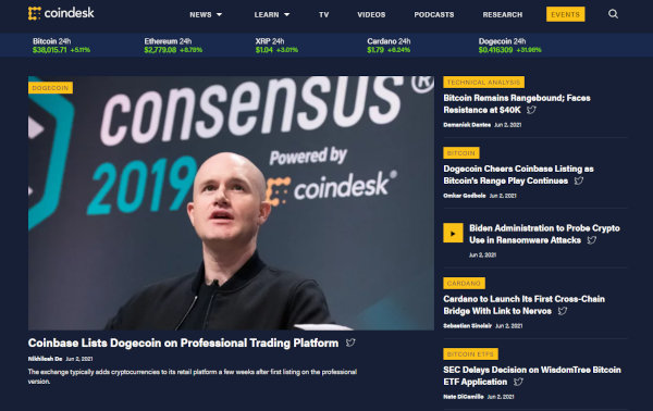 The homepage of CoinDesk.